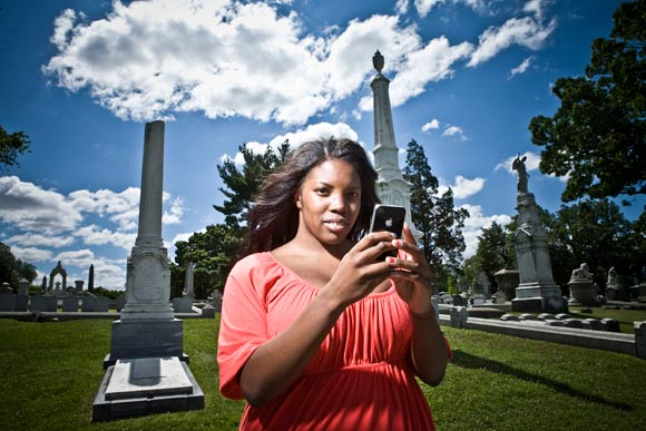 Alexis Jeffcoat tweets as we photograph in Laurel Hill Cemetary