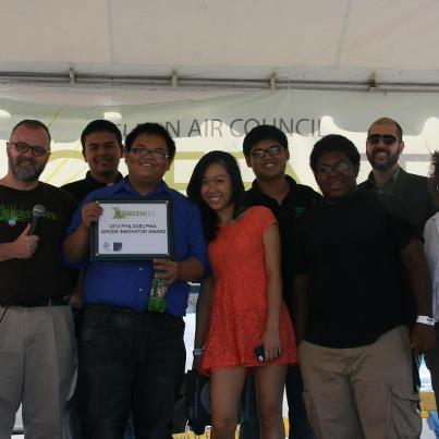 The team from Bright Ideas celebrates their Green Innovator title at Clean Air Council's GreenFest -