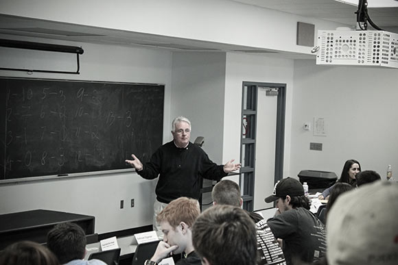 Costa addresses students during the university�s undergraduate Entrepreneurship 101 course.