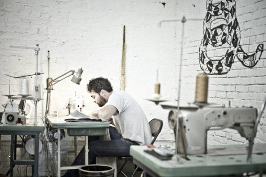 Mike Stampler of Norman Porter Co makes raw selvege Denim products in Kensington