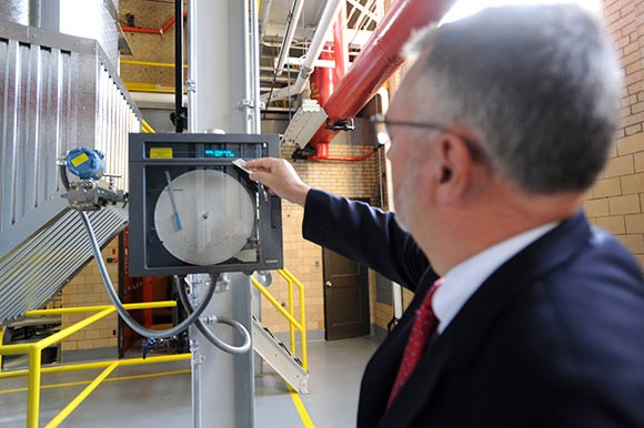 Neuner readings from the heat recovery boiler at the two story tall Combustion Turbine building