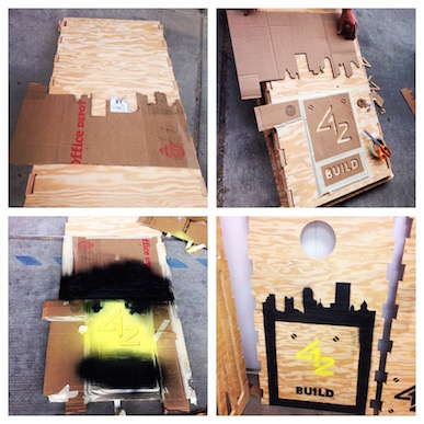Step-by-step process for stenciling the top of a cornhole set
