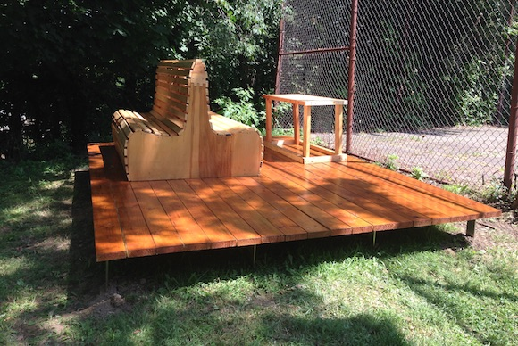 A bench, table, and deck that the students built for Kite Hill Park