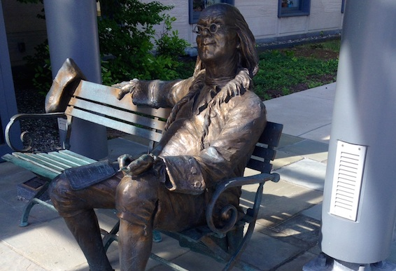 Ben Franklin stands guard at the door to TechVentures