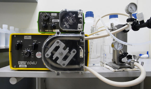 At a wet lab, VaxForm utilizes a tangential flow filtration system