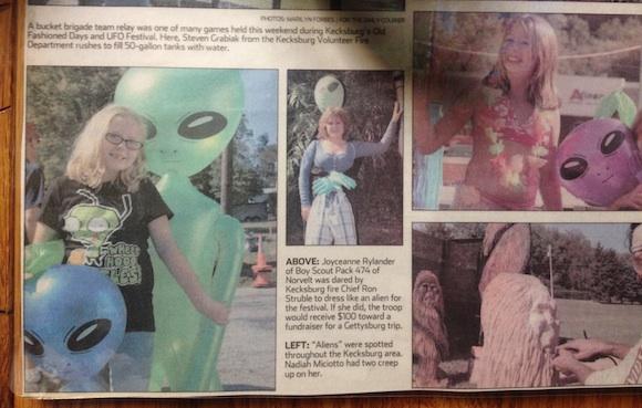 Celebrating the summer alien festival in Kecksburg