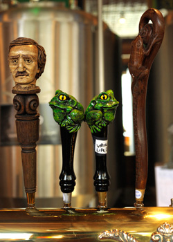 Carved taps at Bullfrog Brewery