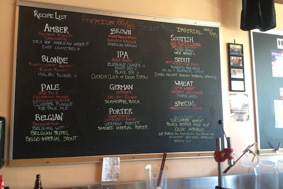 The board at Copper Kettle Brewing Company
