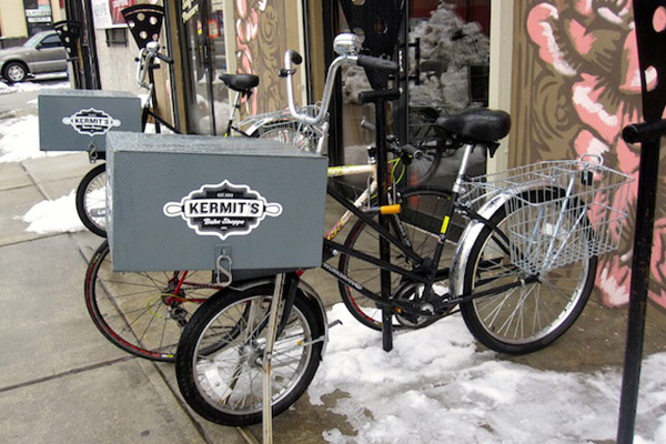 Pizza-themed bike racks outside Kermit's Bake Shop in Philadelphia
