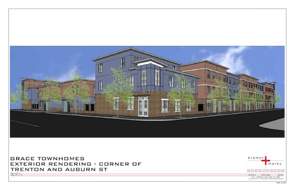 A rendering of the Grace Townhomes