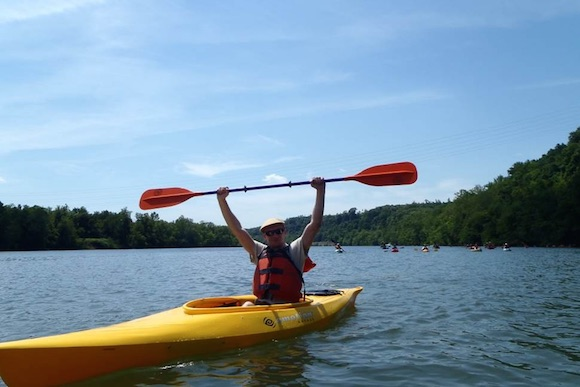 A happy kayaker on the Mon River