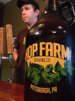 A growler at Hop Farm Brewing Company