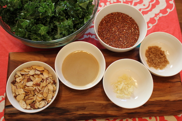 The ingredients for kale salad with tehina dressing