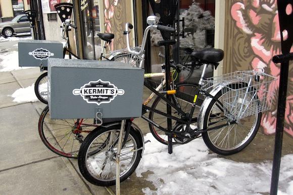 Pizza-themed bike racks outside Kermit's Bake Shoppe