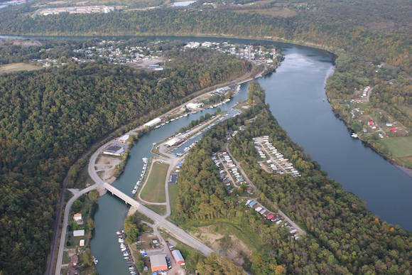 An aerial shot of the Mon River