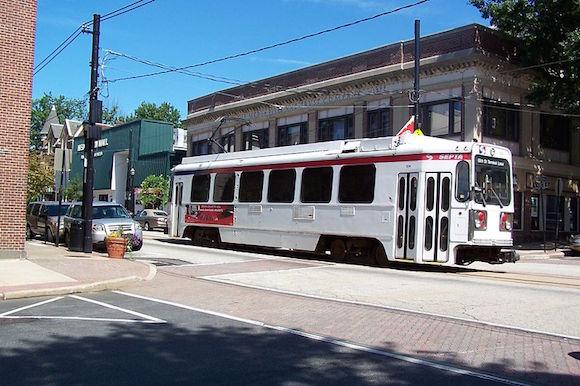 The trolley runs through Media near Veterans Square