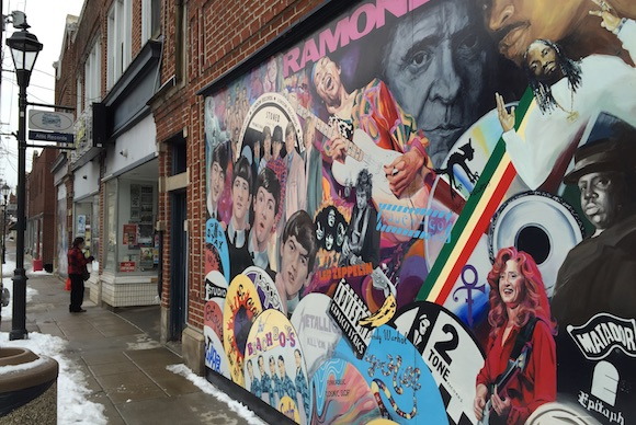 A mural at Attic Record Store