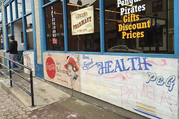 Murals outside Pamela's Diner