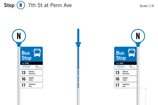 New signage at Port Authority bus stops