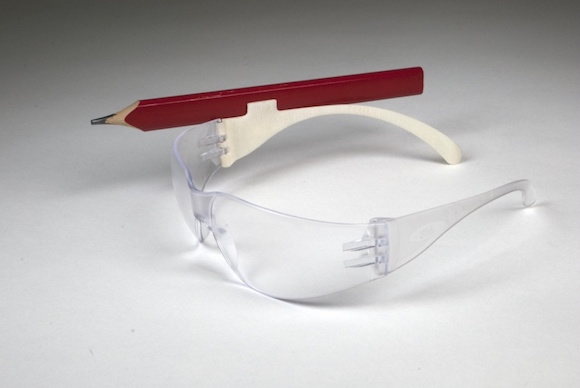 A pencil clip for work goggles