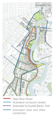 The proposed Schuylkill River Road
