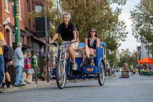 A pedicab in downtown York