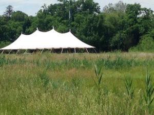 A wedding tent at Bartram's Garden