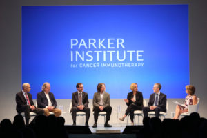 HOLLYWOOD, CA - APRIL 13:  (L-R) Dr. James Allison, The University of Texas MD Anderson Cancer Center, Dr. Carl June, the University of Pennsylvania, Dr. Antoni Ribas, the University of California Los Angeles, Dr. Lewis Lanier, the University of California San Francisco, Dr. Crystal Mackall, Stanford Medicine, Dr. Jedd Wolchok, Memorial Sloan Kettering Cancer Center and journalist Katie Couric speak at the press conference launch of The Parker Institute for Cancer Immunotherapy, an unprecedented collaboration between the country's leading immunologists and cancer centers, at Milk Studios on April 13, 2016 in Hollywood, California.  (Photo by Jonathan Leibson/Getty Images for Parker Media)